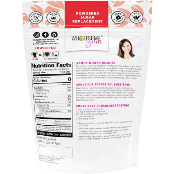 Besti Erythritol Sweetener - Powdered - Back