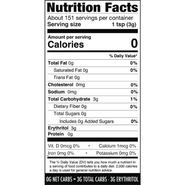 Besti Erythritol Sweetener - Powdered - Nutrition Info