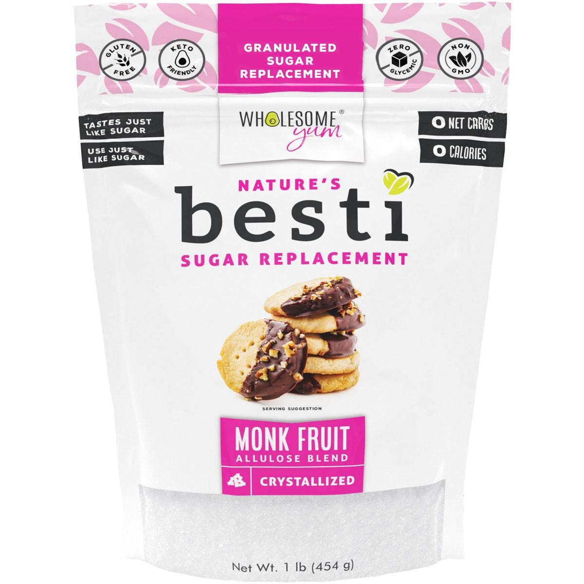 Besti Monk Fruit Sweetener With Allulose - Crystallized - Front
