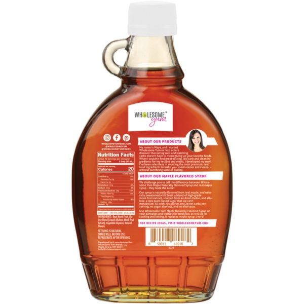 Maple flavored syrup bottle back
