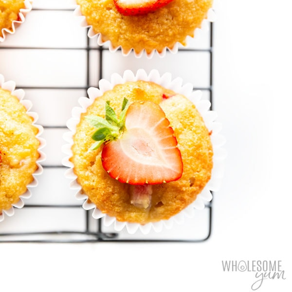 Almond flour keto strawberry muffins topped with strawberry slices