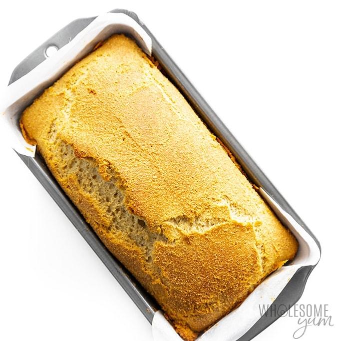 Baked loaf of keto bread