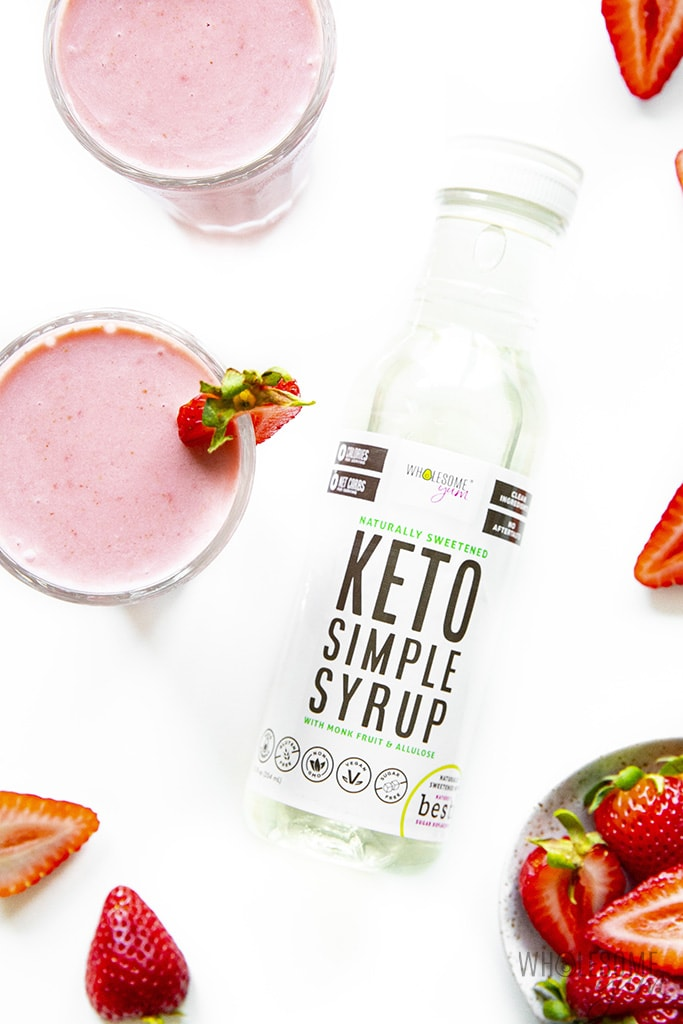 Keto strawberry smoothie with Wholesome Yum keto simple syrup