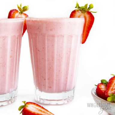 Two glasses of keto strawberry smoothie