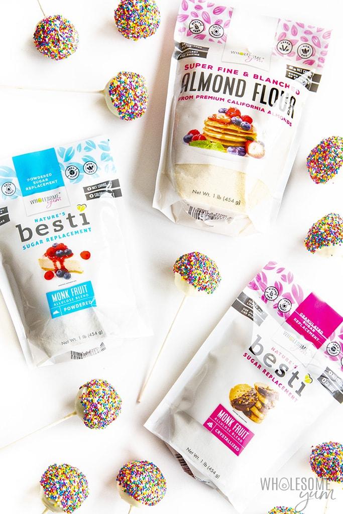 Ingredients to make keto cake pops