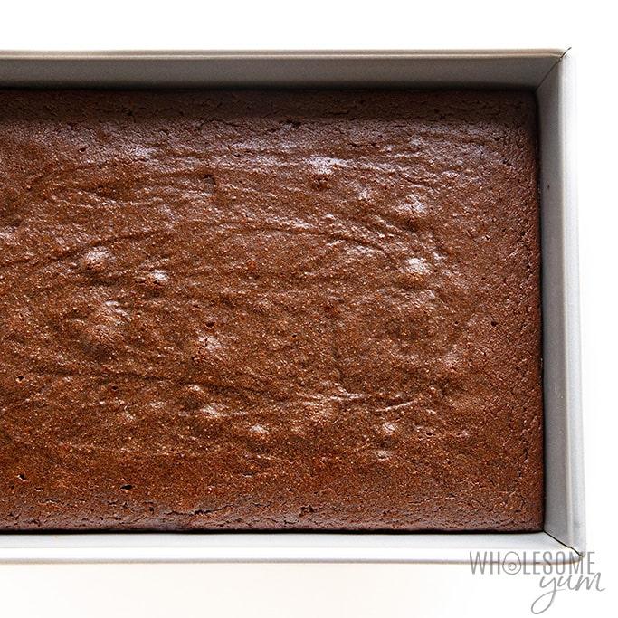 Baked keto chocolate cake in pan
