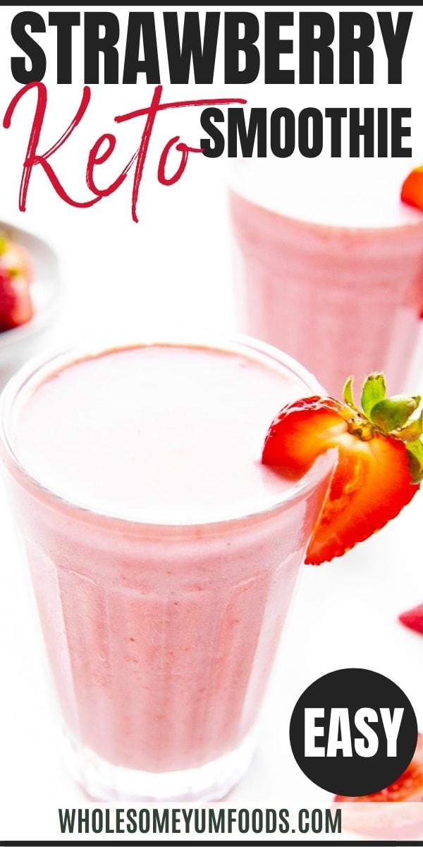 Keto strawberry smoothie recipe pin