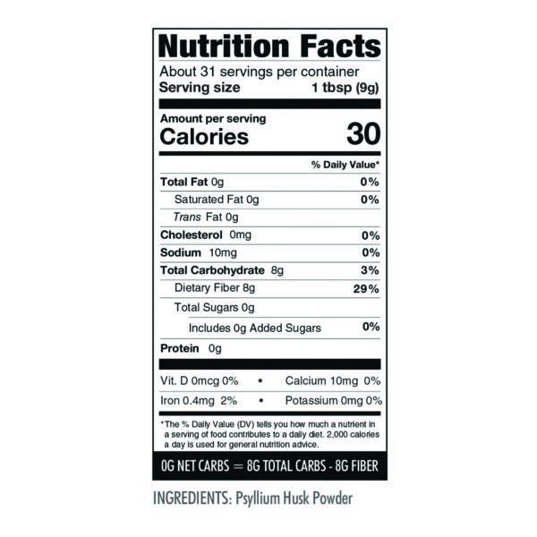 Psyllium Husk Powder nutrition info