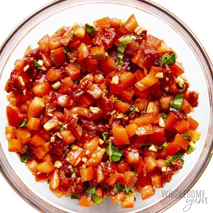 Bowl of tomato bruschetta