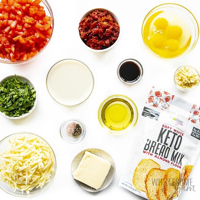 Ingredients to make keto bruschetta