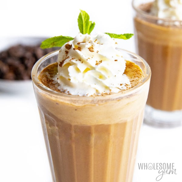 Keto coffee smoothie recipe in a glass