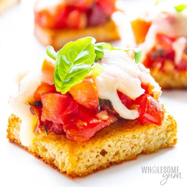 Keto bruschetta recipe close up