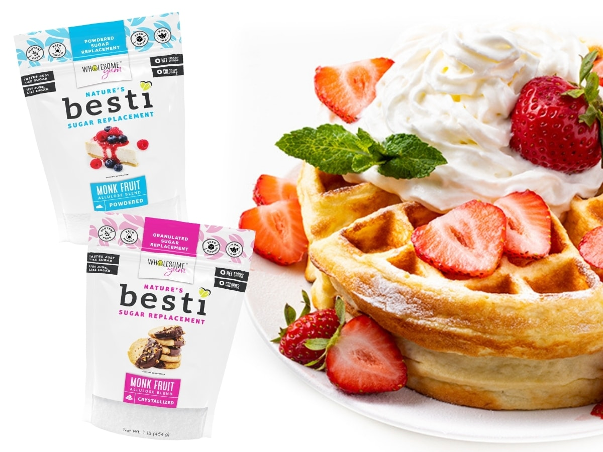 coconut flour waffle with bags of granulated and powdered Besti
