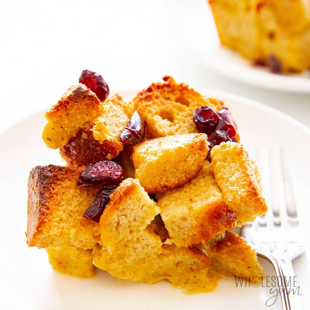 Keto bread pudding recipe close up on a plate